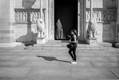 Young Woman Talking on Phone in Modena, Italy royalty free stock photos