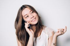 Young woman talking on phone stock images