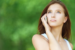 Young woman talking phone Stock Photo