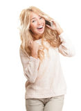 Young woman talking on phone on white background. Royalty Free Stock Photo