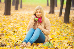 Young woman talking on vintage phone Royalty Free Stock Images