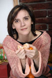 Young woman with tangerines Royalty Free Stock Photos
