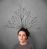 Young woman with tangled lines coming out of her head Stock Photography