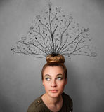 Young woman with tangled lines coming out of her head Royalty Free Stock Photo