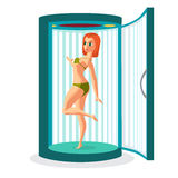 Young woman tanning in vertical solarium. Vector flat cartoon illustration isolated on a white background Royalty Free Stock Photos
