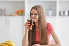 Young woman tasting fresh Royalty Free Stock Photography