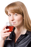 Young woman tasting a glass of wine. #2. Young woman tasting a glass of wine. Isolated on white. #2 stock images