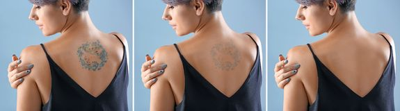 Young woman with tattoo. On color background royalty free stock image