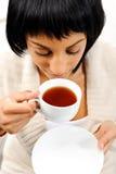 Young woman with tea Stock Photos