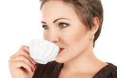 Young woman with tea Stock Image
