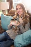 Young woman tea coffee Stock Photos