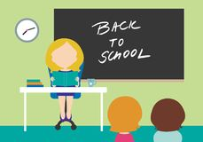 Young woman - teacher sitting on chair behind table in school cl. Ass with black board with inscription Back to school and with two students - flat design vector illustration