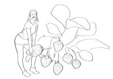 Young woman tears off a huge strawberry. Healthy food, vegetarian and diet symbol. Abstract fun drawing. Isolated hand drawn contour. Vector black outline royalty free illustration