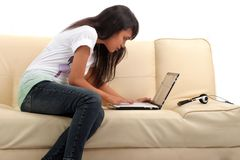 Young woman and technology Royalty Free Stock Photography