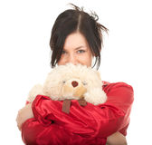 Young woman with teddy bear Stock Photo