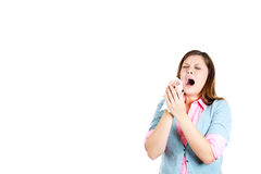 Young woman, teen, looking miserable, having allergy or cold, about to sneeze Royalty Free Stock Photo