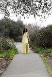 Young Woman Teen Standing on Path Yellow Dress Royalty Free Stock Photo