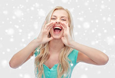 Young woman or teenage girl shouting Stock Image