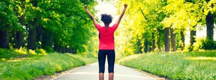 Young Woman Teenager Fitness Running Celebrating Panorama stock photos