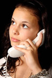 Young woman with telephone Stock Images