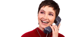Young woman and telephone Stock Photos