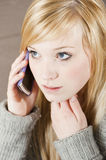 Young woman with telephone. Pretty young woman on the phone with cell phone stock photos
