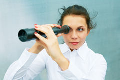 Young Woman with Telescope Stock Photos