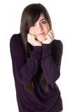 Young woman tender isolated. Young adult teen tender expression on white background stock photo