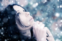 Young woman tender portrait. With snow. Shallow dof Royalty Free Stock Photography