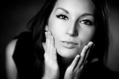 Young woman tender portrait. Black and white Royalty Free Stock Photography