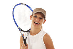 Young woman with tennis racket Royalty Free Stock Photos