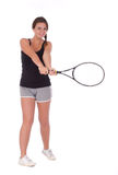 Young woman with tennis racket. Full isolated studio picture from a young woman with tennis racket Stock Photography