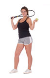 Young woman with tennis racket. Full isolated studio picture from a young woman with tennis racket Stock Photo