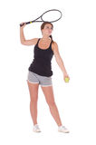 Young woman with tennis racket Royalty Free Stock Photography