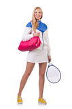 Young woman. With tennis raquet royalty free stock photo