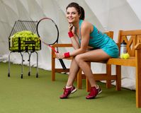 Young woman after tennis workout Stock Image