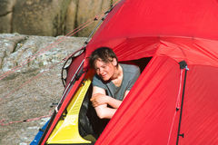 Young Woman in Tent Stock Photography