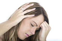 Young Woman With a Terrible Headache Stock Image