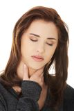 Young woman with terrible throat pain Stock Photography