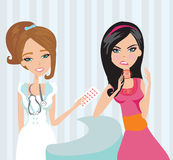 Young woman with terrible throat pain. Vector illustration Royalty Free Stock Photo