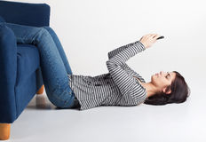 Young woman texting with cellphone Stock Photos