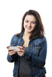 Young woman with smartphone Royalty Free Stock Photos