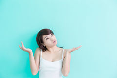 Young woman think something Royalty Free Stock Photography