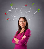 Young woman thinking with abstract marks overhead Royalty Free Stock Photo