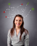 Young woman thinking with abstract marks overhead Stock Photography