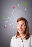 Young woman thinking with abstract marks overhead Stock Images