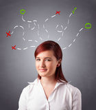 Young woman thinking with abstract marks overhead Stock Photos