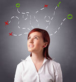 Young woman thinking with abstract marks overhead Royalty Free Stock Images