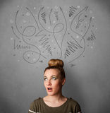 Young woman thinking with arrows over her head Stock Photos