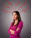 Young woman thinking with arrows overhead Stock Image